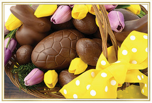 Easter Card Chocolate Candy And Yellow Ribbons