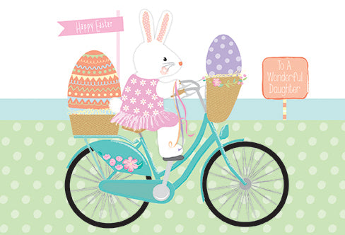 Easter Card Daughter Bunny On Bicycle - Cardmore