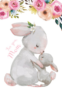 Easter Card Mom. Mom and Baby Rabbit