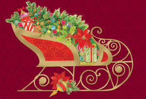Santa's sleigh with gold - Christmas Card
