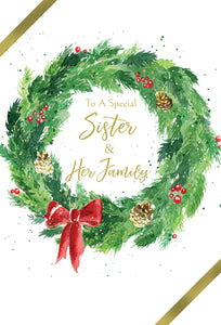 To a special sister & her Family - Christmas Card
