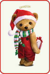 Grandson Teddy Bear - Christmas Card