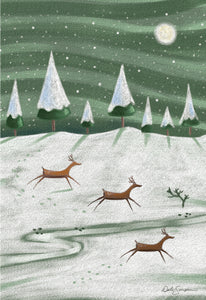 Reindeers on a field  - Christmas Card
