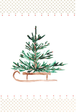 Christmas tree on a sleigh - Christmas Card