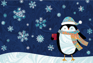 Pinguin in Snow - Christmas Card