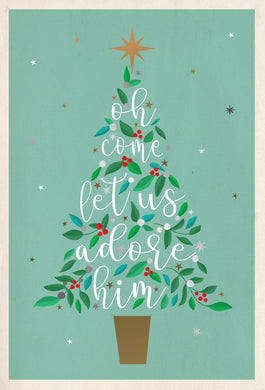 Oh come let us adore Him Religious Christmas Card