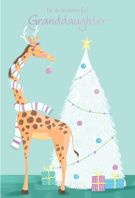 Granddaughter Giraffe Christmas Card