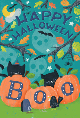 Boo Cats hiding Halloween Card