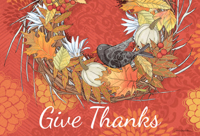 Give Thanks, bird - Thanksgiving card