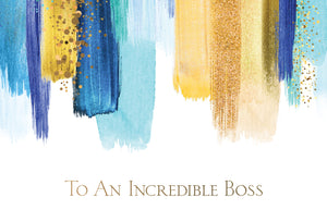 Vibrant Blues And Gold Boss's Day Card