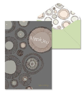Gray Circles Thank You Note Cards
