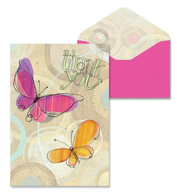 Peach Butterflies Thank You Note Cards
