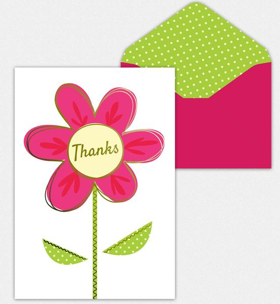 Pink Flower Thank You Note Cards