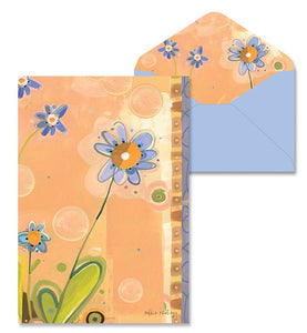 Purple Flower Blank Notes Cards 8 cards