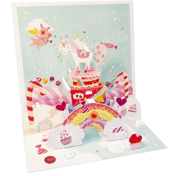 Unicorn Pop-up Grande 3D Card