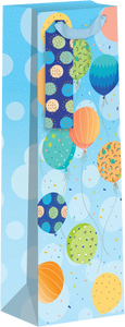 Balloons on Blue Background Bottle Gift Bag