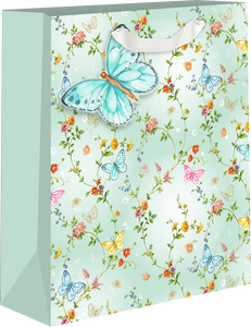 Butterfly w/ Floral Background Medium Gift Bag
