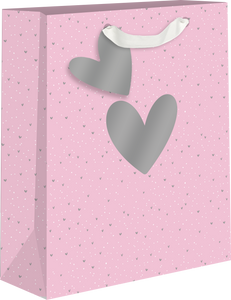 Pink Background w/Silver Hearts Medium Gift Bag