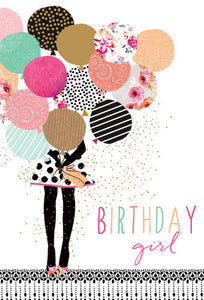 Birthday Card Girl With Balloons Sara Miller