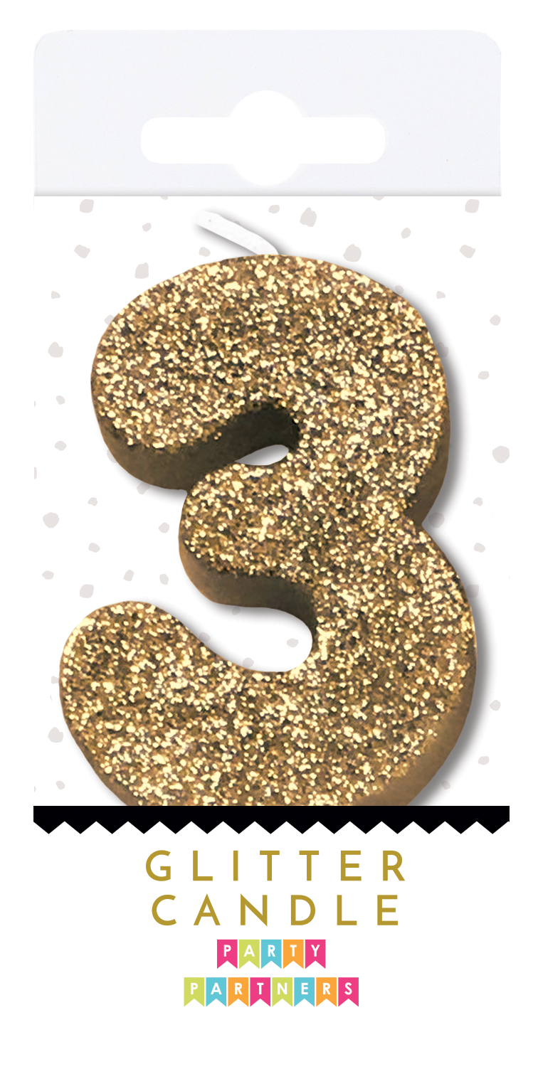 3 Three Gold Glitter Number Candle Party Partners