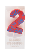 2 Two Colorful Decal Number Candle Party Partners