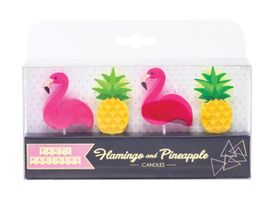 Flamingo and Pineapple Decal Candles
