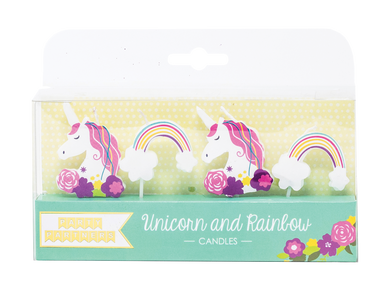 Unicorn and Rainbow Decal Candles