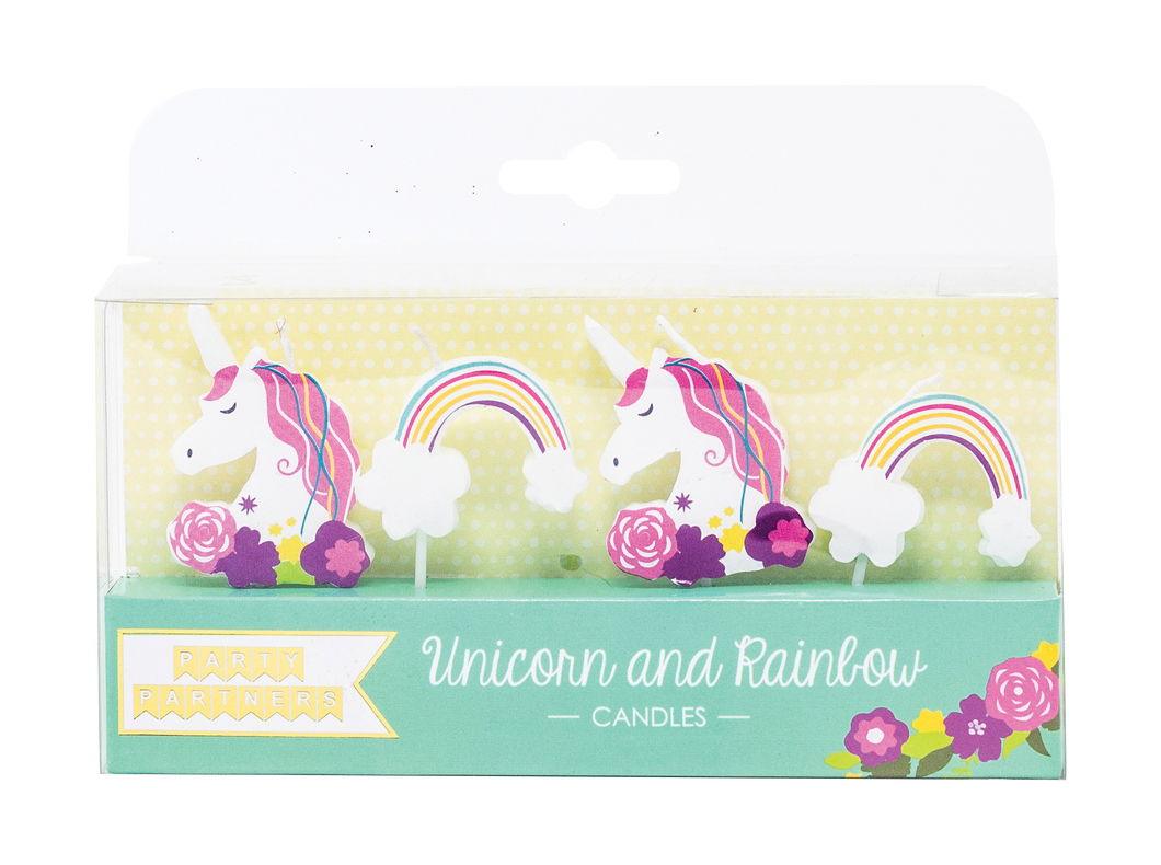 Unicorn and Rainbow Decal Candles Party Partners