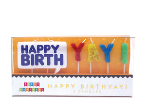 Happy Birthyay! Letter Glitter Decal Candle set Party Partners