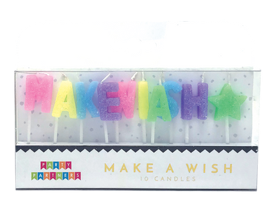 Make a wish Letter Glitter Candle Set Party Partners