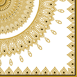 Gold & Black Mandala Cocktail Napkins