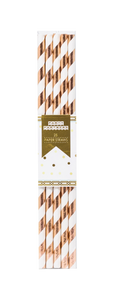 100% recyclable Rose Gold Striped Paper Straws Party Partners
