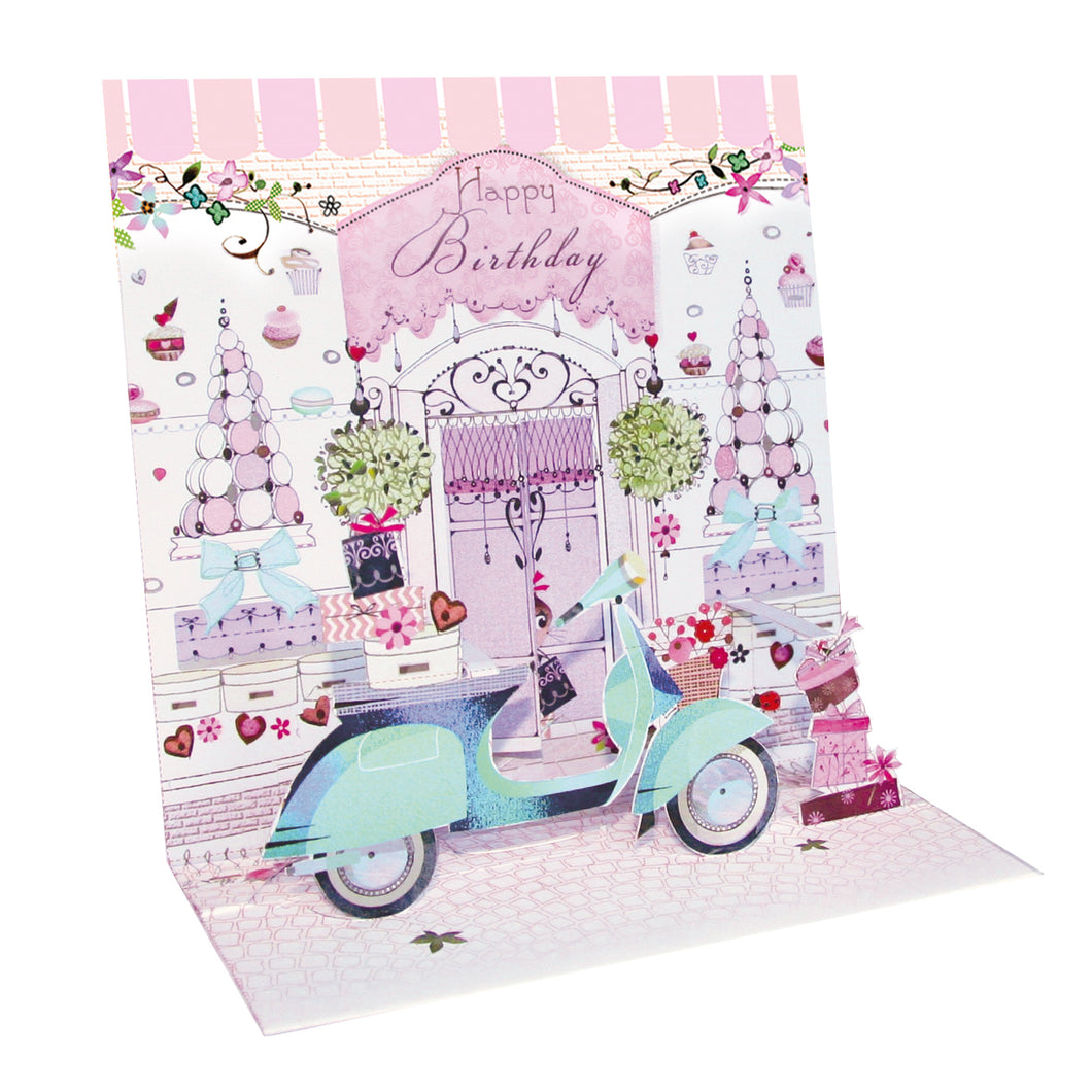 Happy Birthday Moped Pop-up Grande 3D Card