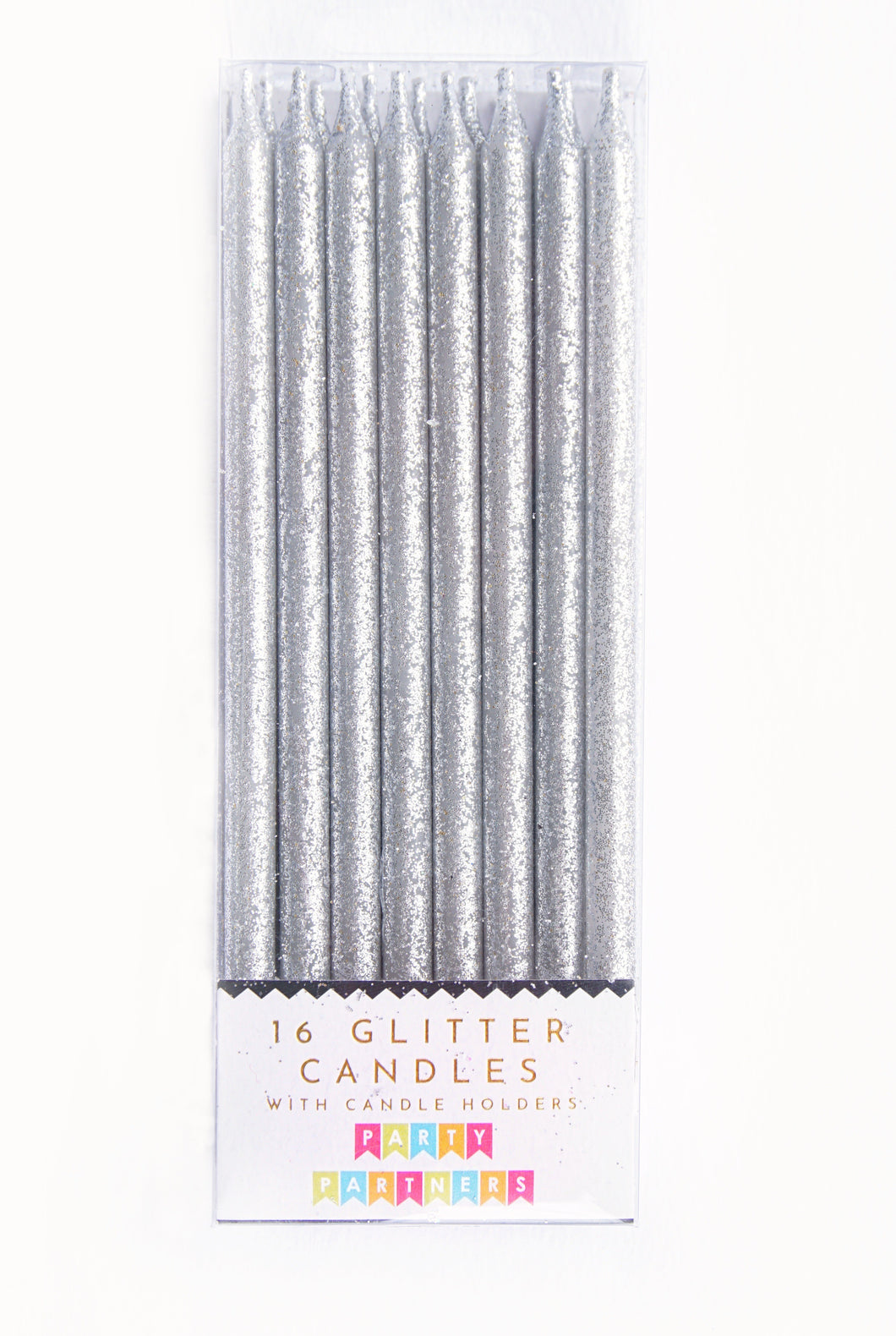 Silver Tall Glitter 16 Candle Set Party Partners