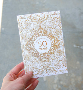 50 Years Golden Filigree Frame Anniversary Card