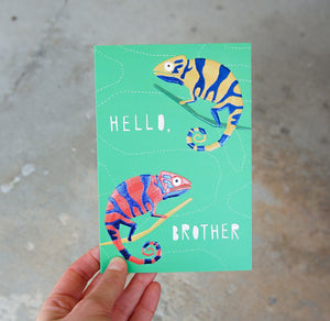Two Chameleons Brother Birthday Card