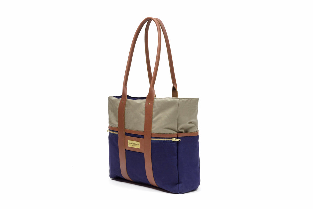 Blue Signature Zip Top Tote Bag