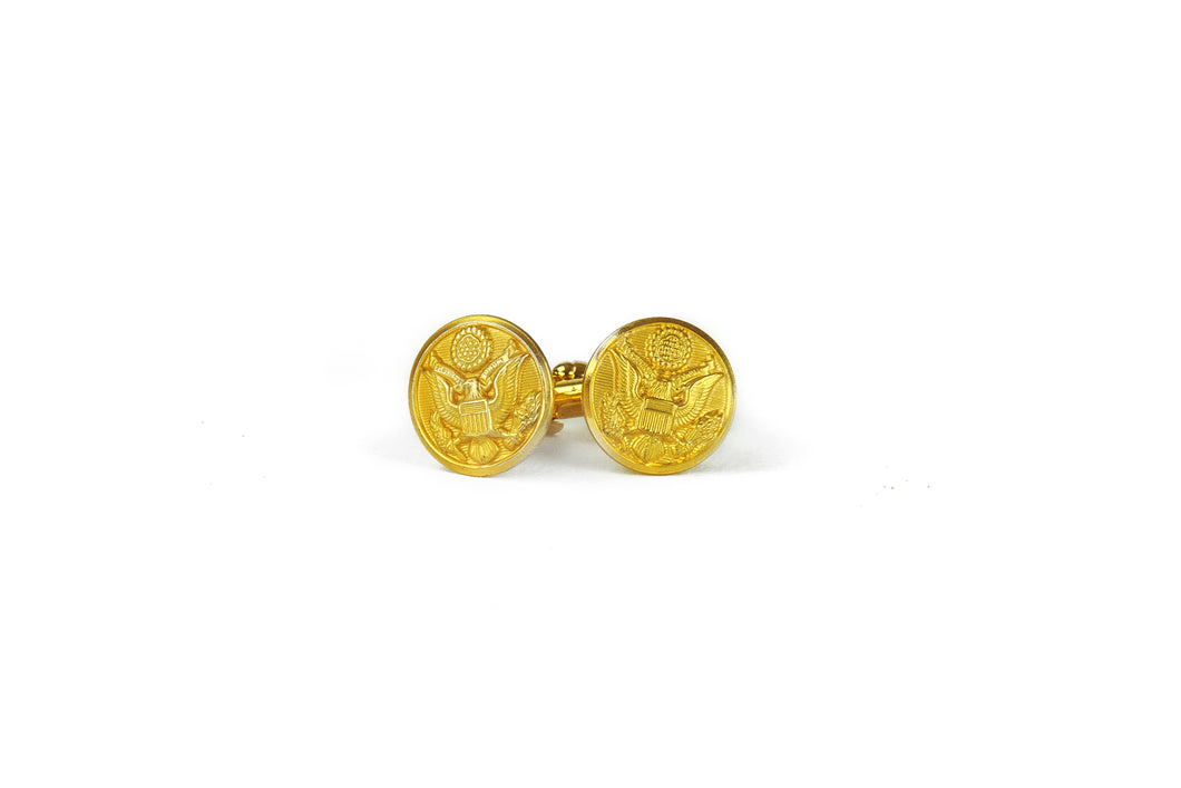 Brass Military Button Cufflinks