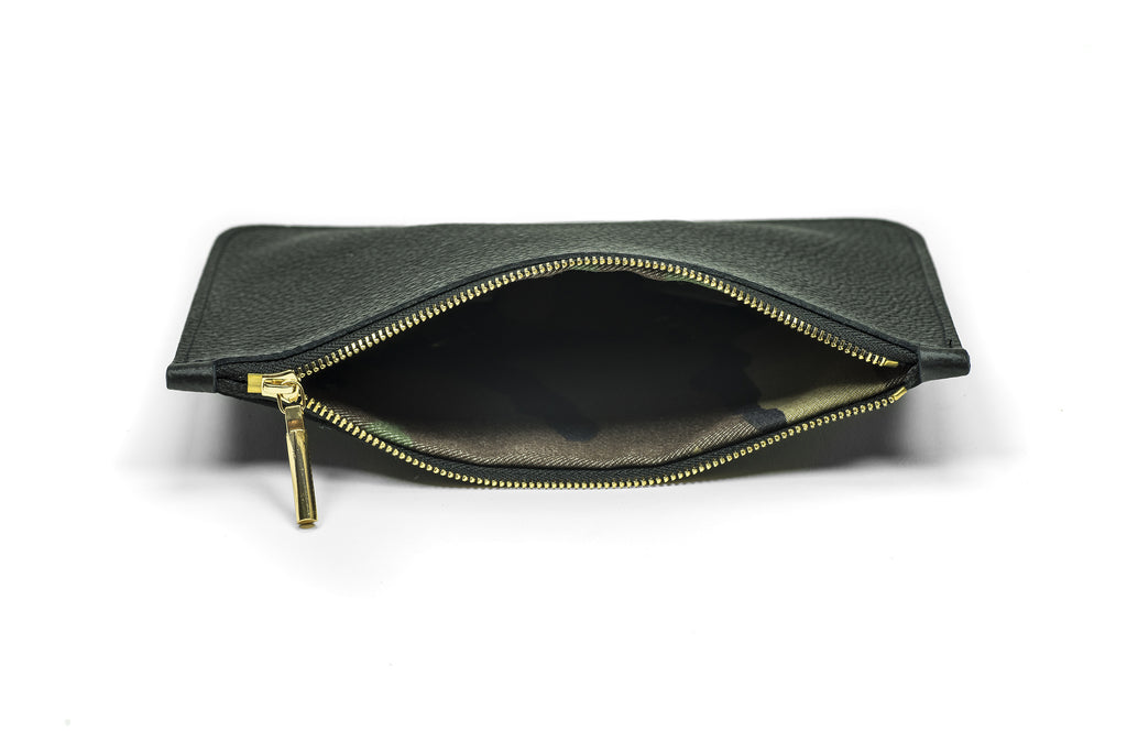 Leather Zipper Clutch