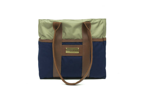 Blue Mini Zip Top Tote Bag