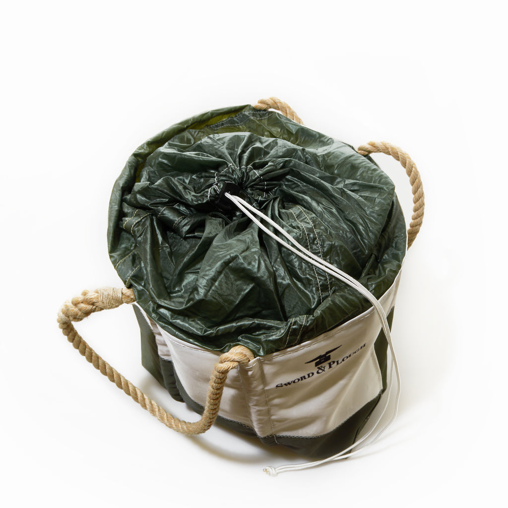 Sword & Plough and Sea Bags Collection  - Green Parachute Expandable Top Tote