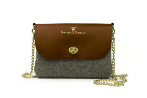 Grey Wool Crossbody Bag - Brown Leather
