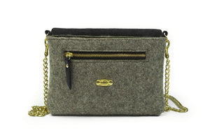 Grey Wool Crossbody Bag - Black leather