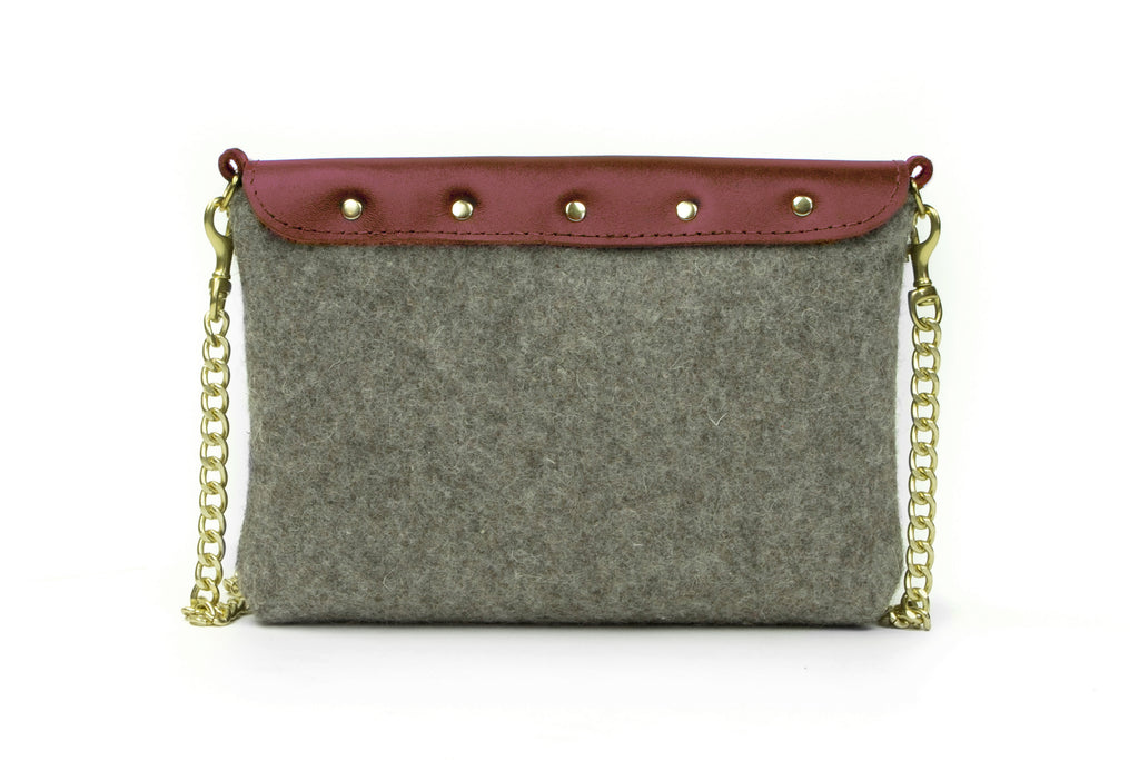 Grey Wool Crossbody Bag - Burgundy Leather