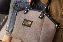 Handbag - Grey Wool Handbag - Black Leather
