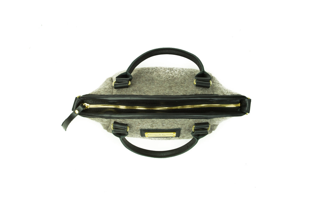 Handbag - Wool Handbag - Black Leather