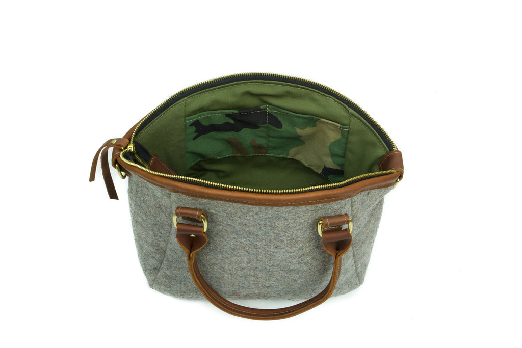 Handbag - Wool Handbag - Brown Leather