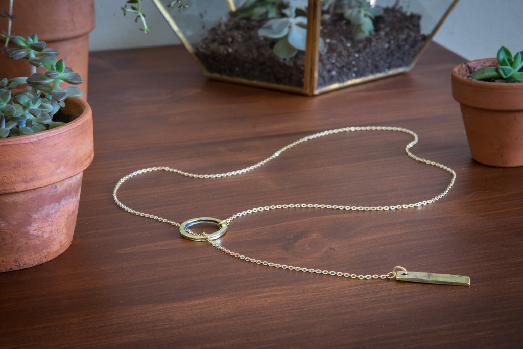 Jewelry - Brass Bar + Circle Necklace
