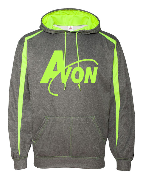 Avon Band Steel/Safety Yellow Pro Heather Fusion Performance Fleece Hooded Pullover SP - L&M Spirit Gear