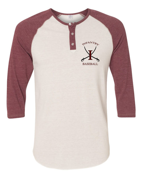 Infantry Baseball Eco-Jersey Three-Quarter Sleeve Raglan Henley EMB - L&M Spirit Gear